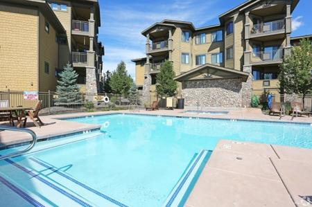 Pool and patio at Elevation Apartments in Flagstaff, AZ