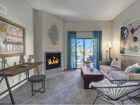 Living room at La Entrada Apartments in Tucson, AZ