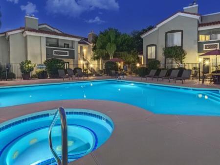 Pool, spa and patio at Springs At Continental Ranch Apartments In Tucson, AZ