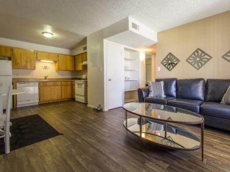 Kitchen, dining are and living room at Regency Square in Yuma, AZ