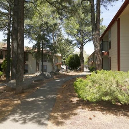 Exterior and landscaping at Pinecliff Village Apartments in Flagstaff, AZ