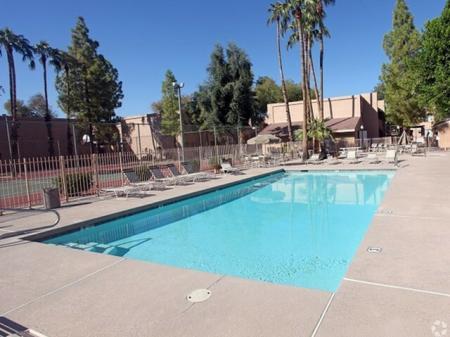 Pool and patio at Shorebird Apartments in Mesa, AZ