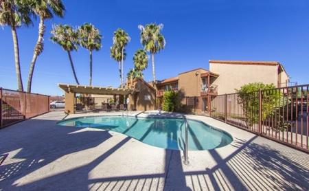 Pool and patio at Canyon Heights in Tucson, AZ