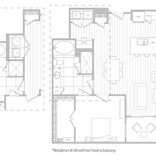 Floor Plan 10 | One Bedroom Apartments In Baltimore Md | Hanover Cross Street