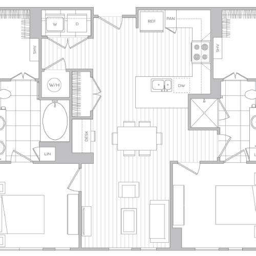Floor Plan 12 | Baltimore Luxury Apartments | Hanover Cross Street