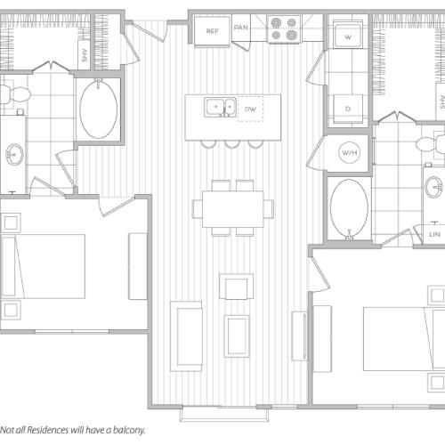 Floor Plan 16 | 1 Bedroom Apartments For Rent In Baltimore | Hanover Cross Street