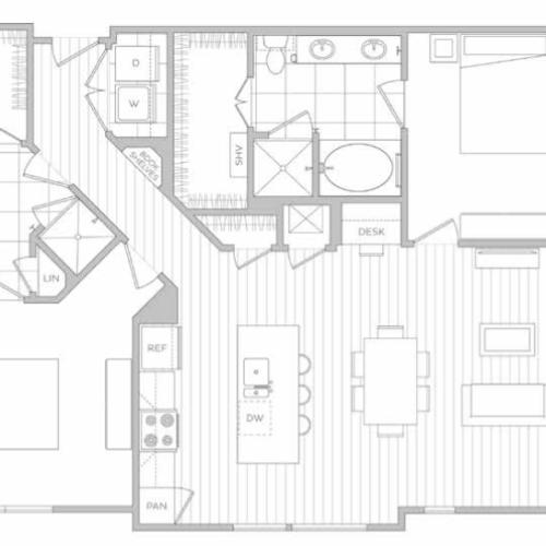 Floor Plan 12 | Dallas Texas Luxury Apartments | Hanover Midtown Park
