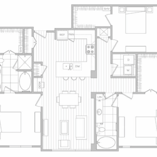 Floor Plan 13 | Dallas Apartments | Hanover Midtown Park