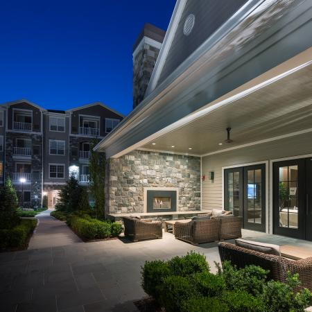 Outdoor fireplace at Hanover Foxborough