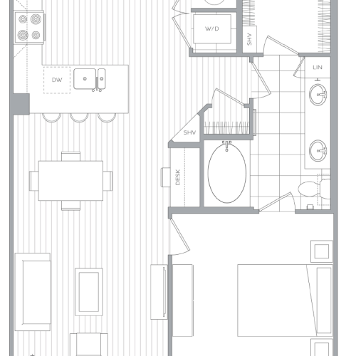 D 1 Bedroom / 1 Bath