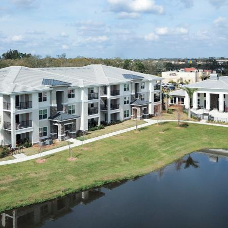 The Reserve at Vero Beach, exterior, aerial view, 1 building, clubhouse, pool, pond