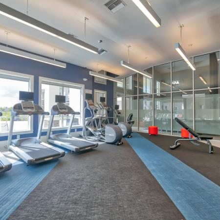 The Reserve at Vero Beach, interior, fitness center, treadmills, large windows, view of pool, hand weights, elliptical