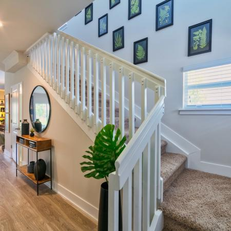 The Reserve at Coral Springs, interior, front entryway, wood floors, carpeted stairs