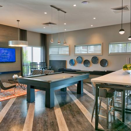 The Reserve at Coral Springs, interior, clubhouse, billiard room, wall mounted television