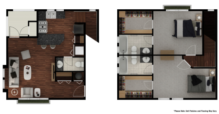 Stone Avenue Standard 2 Bed/ 2.5 Bath Townhome Floor Plans