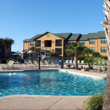 Resort-style pool at luxury apartments in College Station, TX