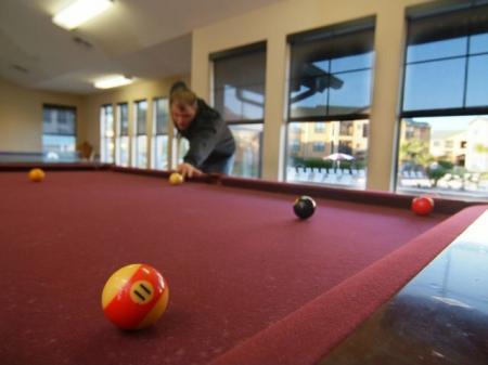 Billiards room at Bryan, TX apartments