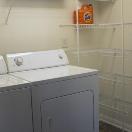 Washer and Dryer room with plenty of storage in Bryan
