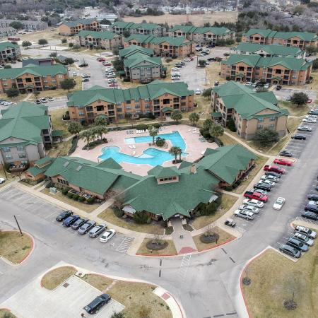 drone shot of apartment
