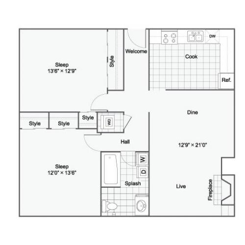 Floor Plan 1 | Luxury Apartments Birmingham ALabama | The Kenzie Apartment Homes