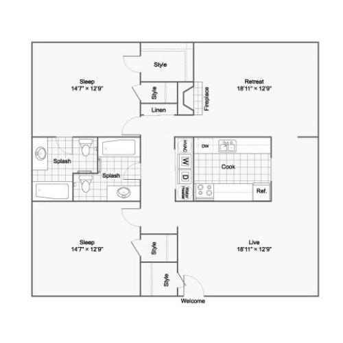 Floor Plan 2 | Luxury Apartments Birmingham ALabama | The Kenzie Apartment Homes