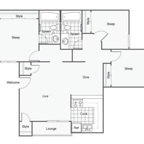 The Vue Apartments For Rent San Bernardino CA 92407 Floor Plan