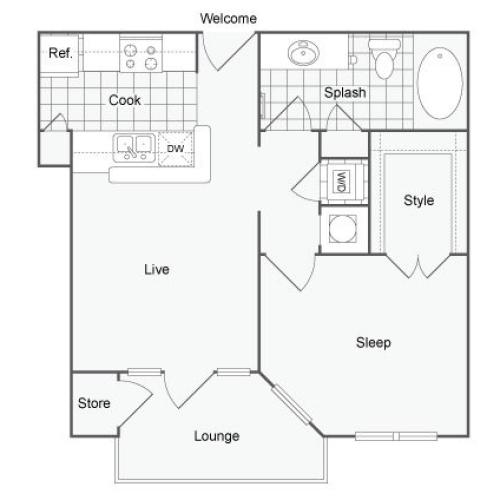 Floor Plan 1 | Luxury Apartments In Atlanta | The Artisan Luxury Apartment Homes