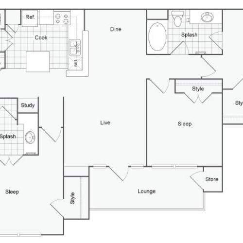 Floor Plan 6 | Luxury Apartments In Atlanta | The Artisan Luxury Apartment Homes