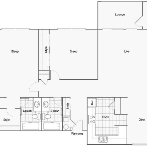 Floor Plan 12 | 1 Bedroom Apartments Near FSU | The Social at Tallahassee