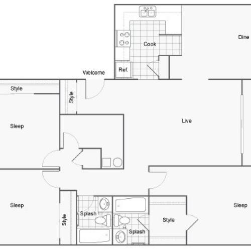 Floor Plan 27 | 1 Bedroom Apartments Near FSU | The Social at Tallahassee