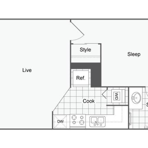 Unfurnished 1 Bedroom Floor Plan | Apartments Near USF Tampa | ULake Apartments