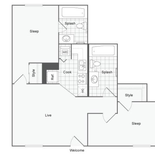 Unfurnished 2 Bdrm Floor Plan | USF Tampa Apartments | ULake Apartments