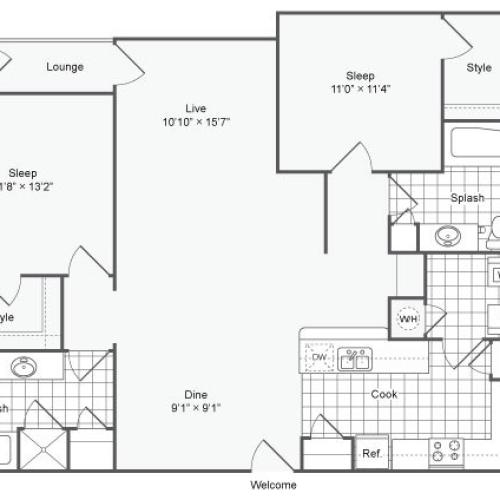 2 Bdrm Floor Plan | Chamblee GA Apartments | The Station on Peachtree