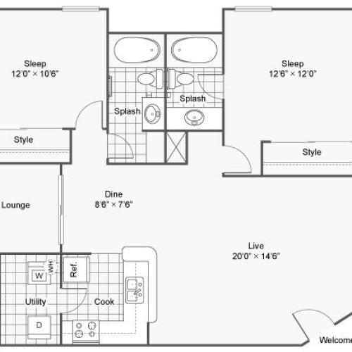 Serene at Woodlake Apartments For Rent Athens GA 30606 Floor Plan