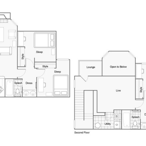 4 Bedroom Floor Plan | 2 Bedroom Apartments In Auburn AL | The Hub at Auburn