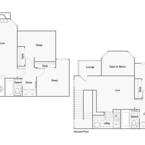 Floor Plan 6 | Pet-Friendly Apartments In Auburn AL | The Hub at Auburn