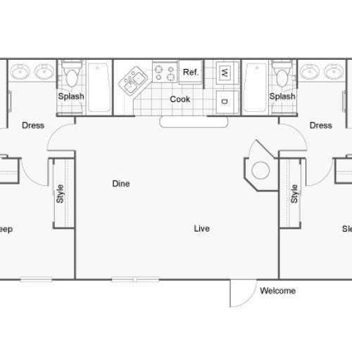 Floor Plan 9 | Apartments For Rent Near Auburn University | The Hub at Auburn