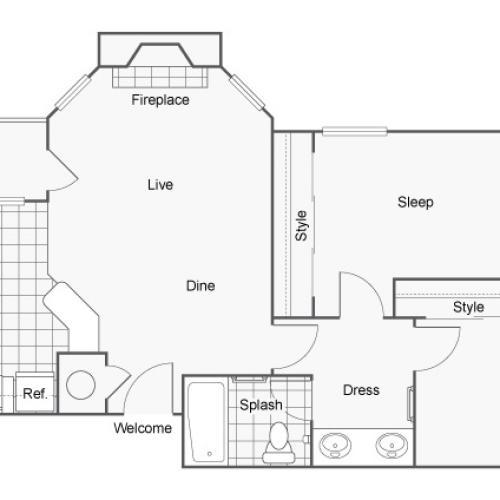 2 Bedroom Floor Plan | Pet-Friendly Apartments In Auburn AL | The Hub at Auburn