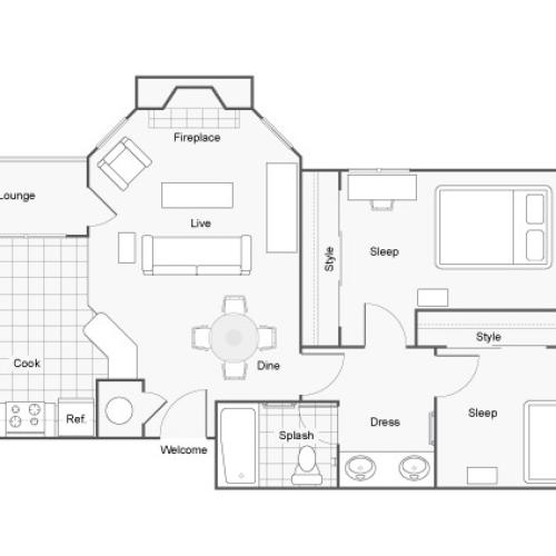 Floor Plan 2 | 2 Bedroom Apartments In Auburn AL | The Hub at Auburn