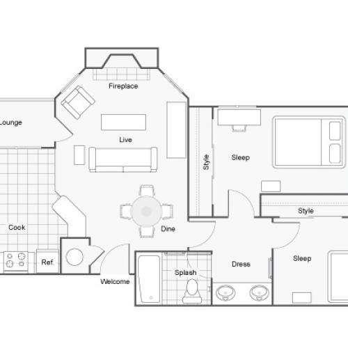 Floor Plan 2 | 2 Bedroom Apartments In Auburn AL | The Hub at Auburn