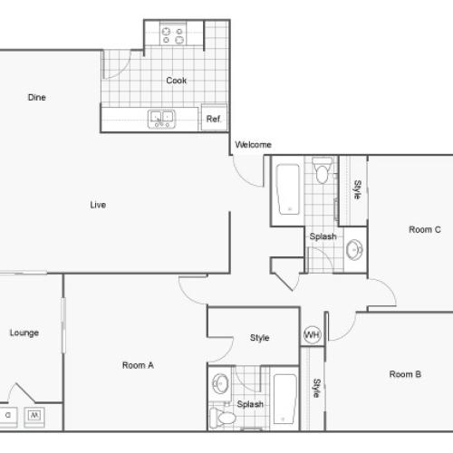 The Hub at Tallahassee Apartment Homes Apartments For Rent Tallahassee FL Floor Plan
