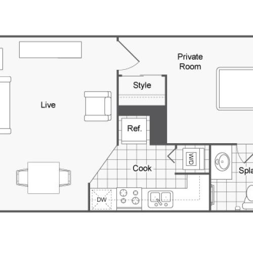 Furnished 1 Bedroom Floor Plan | Apartments Near USF Tampa | ULake Apartments