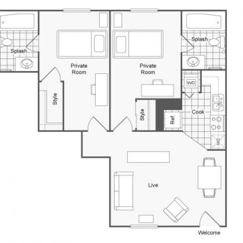 Furnished 2 Bedroom Floor Plan | Tampa Apartments Near USF | ULake Apartments