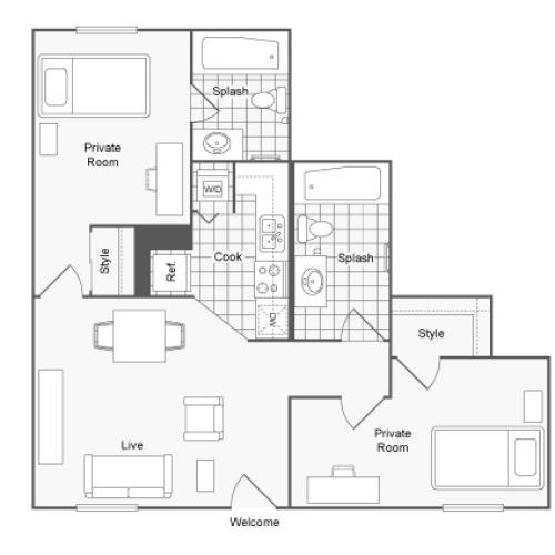 Furnished 2 Bdrm Floor Plan | USF Tampa Apartments | ULake Apartments