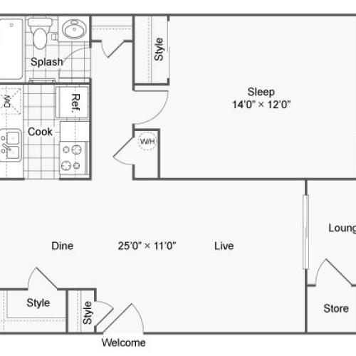 1 Bedroom Floor Plan | Apartments In Chesterfield Mo | The Avalon Apartment Homes