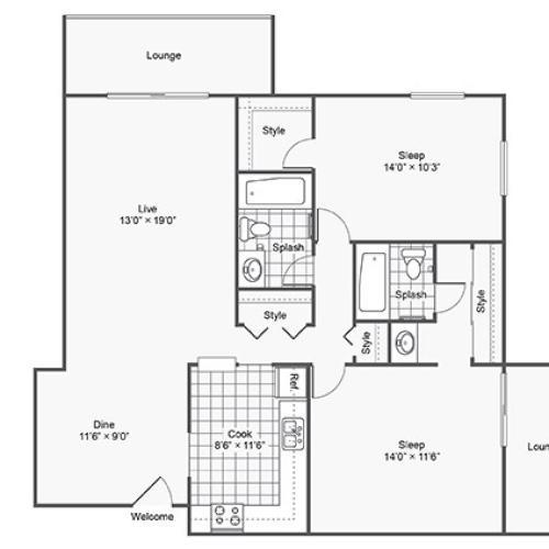 Twelve501 Apartment Homes Apartments For Rent Burnsville MN 55337 Floor Plan