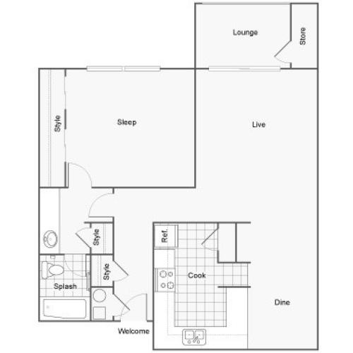 Floor Plan 2 | 1 Bedroom Apartments Near FSU | The Social at Tallahassee