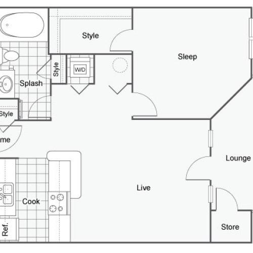 Floor Plan 1 | Apartments In Atlanta | Arrive Perimeter