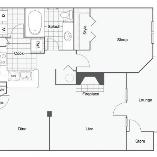 Floor Plan 2 | 2 Bedroom Apartments For Rent In Atlanta GA | Arrive Perimeter