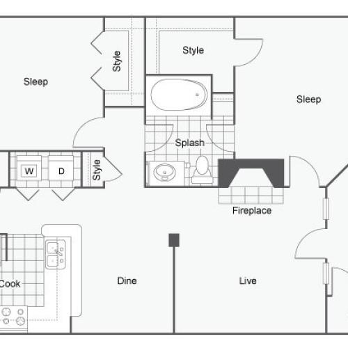 Floor Plan 4 | Atlanta Apartments | Arrive Perimeter